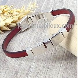 Kit bracelet cuir bordeaux geometrique argent