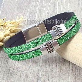 Kit bracelet cuir fantasia vert perles boho argent