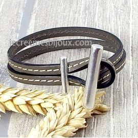 Kit bracelet cuir taupe coutures fermoir vertical toogle argent
