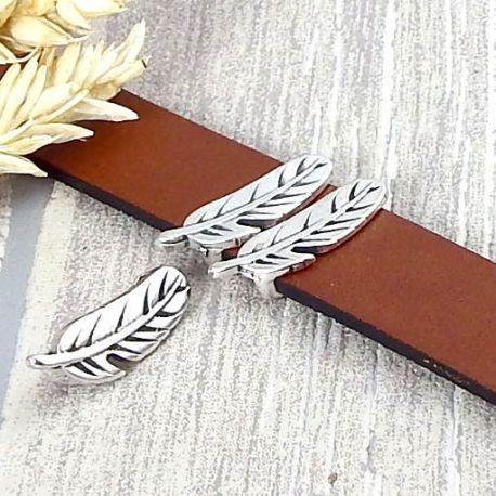 Passe cuir plume argent pour cuir plat 15mm