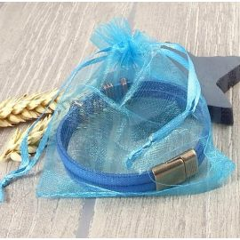 5 pochettes organza turquoise 110x90mm