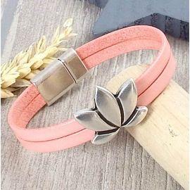 Kit bracelet cuir boho saumon pastel fleur lotus argent