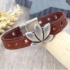 Kit bracelet cuir marron coutures fleur lotus argent