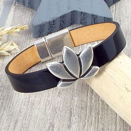 Kit bracelet cuir vernis noir fleur lotus argent
