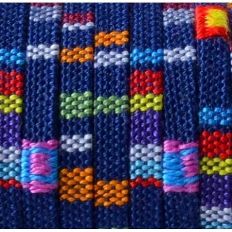 Cordon coton ethnique plat 5mm bleu marine