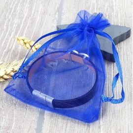 5 pochettes organza bleu vif 110x90mm