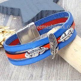 Kit bracelet cuir bleu et orange boho plumes argent