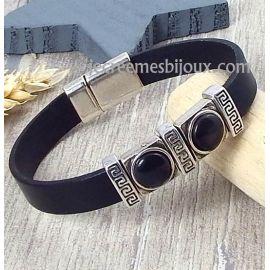 Kit bracelet cuir noir ethnique et fermoir argent