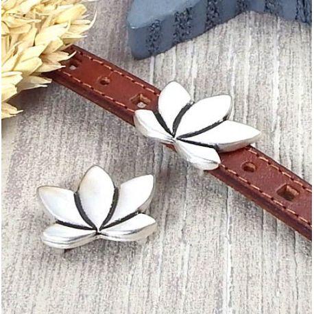 Passant cuir fleur de lotus argent pour cuir 10mm