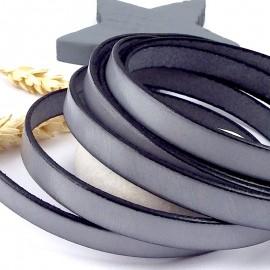 Cuir plat 10mm gris bracelet