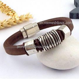 Kit tuto bracelet cuir marron homme rustique