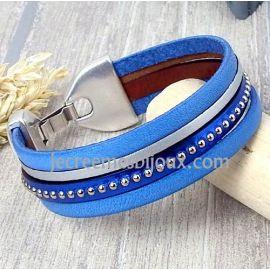 Kit tutoriel bracelet cuir bleu et metal clous argent