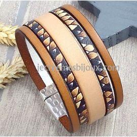Kit bracelet cuir imprime iguane marron et beige fermoir martele argent et son tutoriel