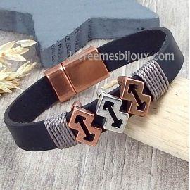 Kit bracelet cuir noir homme fleches argent et cuivre