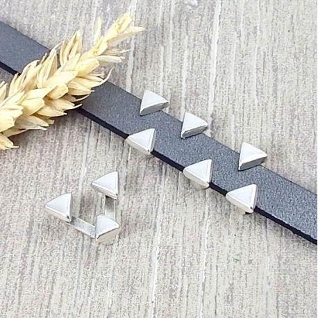 Passant 3 triangles cote argent pour cuir 10mm