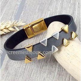 Kit bracelet cuir argent vieilli triangles argent et or