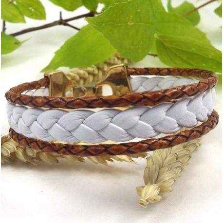 Kit tutoriel bracelet cuir tresse blanc et camel