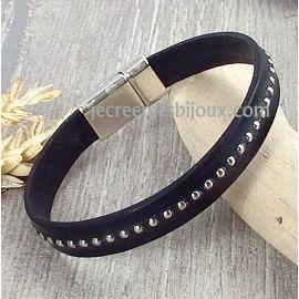 Kit tutoriel bracelet cuir noir billes et fermoir argent