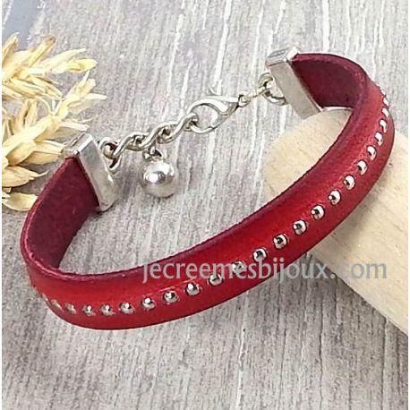 Kit tutoriel bracelet cuir rouge billes et fermoir argent et grelot