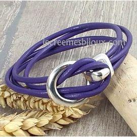 Kit tutoriel bracelet cuir lilas crochet argent