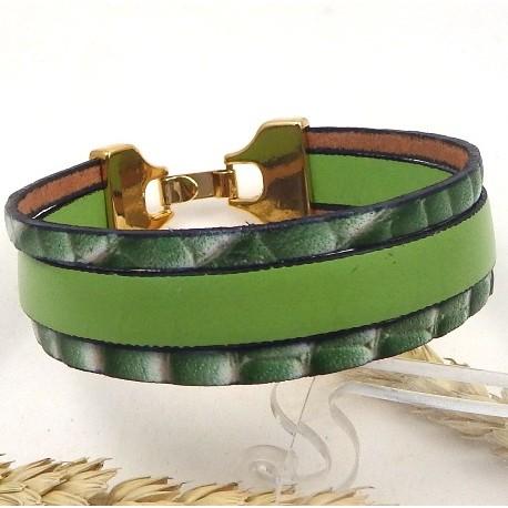 Kit tutoriel bracelet cuir 3 bandes vert et blanc
