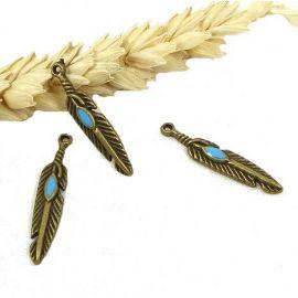 3 breloques pendentif boheme plume bronze turquoise 27mm