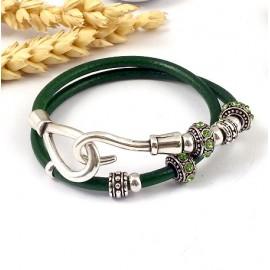 kit tutoriel bracelet cuir rond fuchsia et fermoir crochet argent deux
