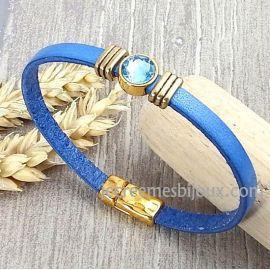 Kit bracelet cuir bleu jean perles or et cristal swarovski aqua