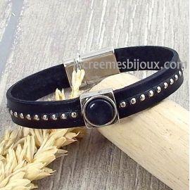 Kit tutoriel bracelet cuir noir billes et cabochon noir et cabochon noir et argent