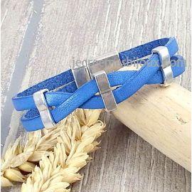 Kit bracelet cuir bleu jean croise argent