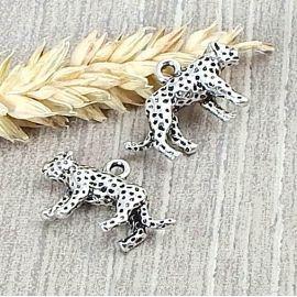2 pendentifs leopard argente 25mm