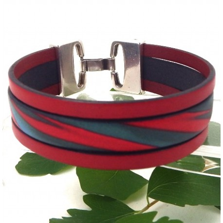 Kit tutoriel bracelet cuir 3 bandes rouges fermoir plaque argent