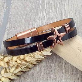 Kit bracelet cuir vernis noir boho cuivre double