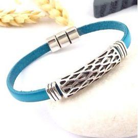 Kit bracelet cuir turquoise boho style argent