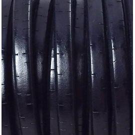 Cuir ovale regaliz noir vintage par 1 mètre