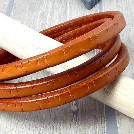 Cuir ovale regaliz camel vintage par 1 mètre