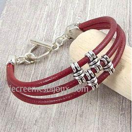Kit bracelet cuir bordeaux passants noeuds et fermoir toogle argent