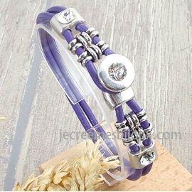 Kit tutoriel bracelet cuir mauve passants noeuds et cristal swarovski
