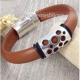 Kit bracelet cuir demi rond camel et argent