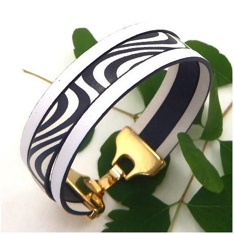 Kit tutoriel bracelet cuir blanc et noir fermoir or