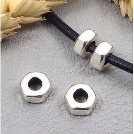 2 perles style ecrou design inox pour cuir 4mm