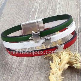 Kit bracelet cuir Noel etoiles vert rouge blanc