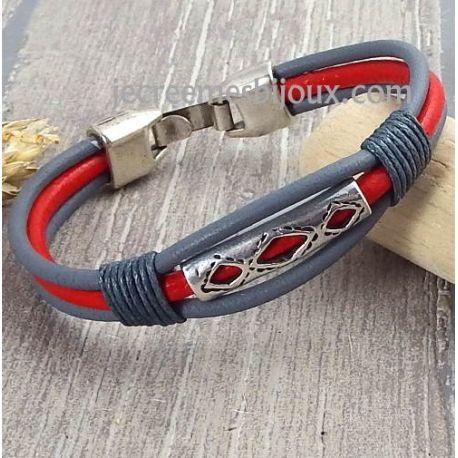 Kit bracelet cuir boheme gris et rouge