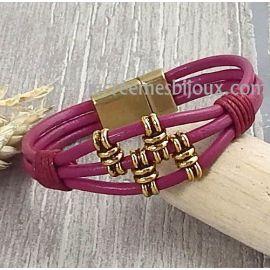 Kit tutoriel bracelet cuir fuchsia et bronze boheme
