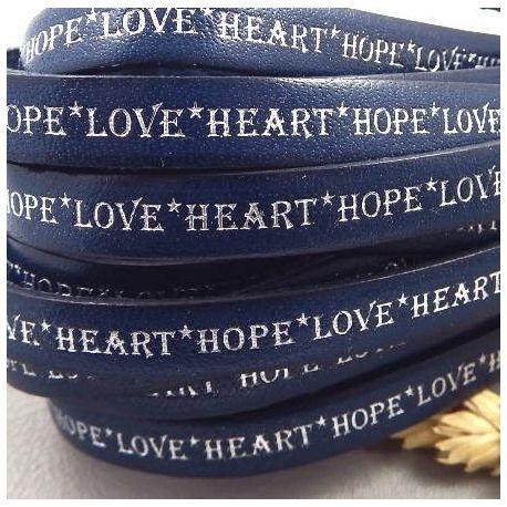 Cordon cuir plat 10mm bleu marine imprime love heart hope argent