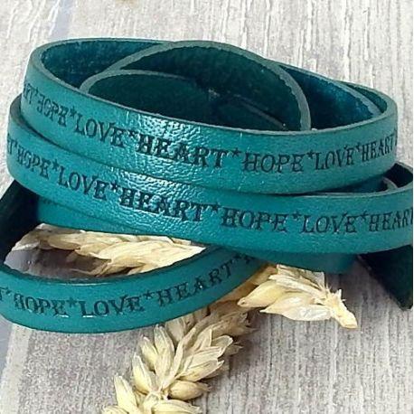Cordon cuir plat 10mm vert imprime love heart hope