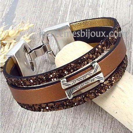 Kit tutoriel bracelet cuir cuivre metal et fantasia marron
