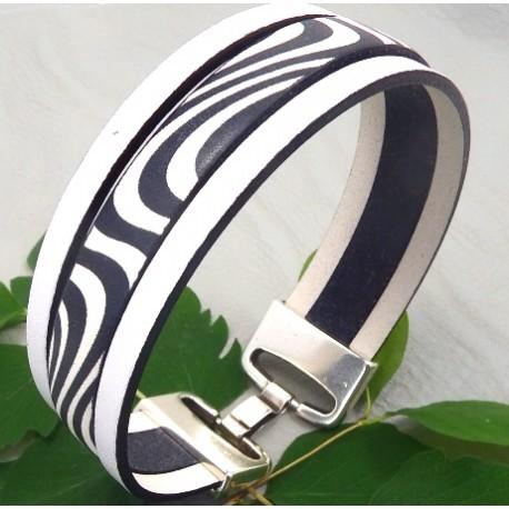 Kit tutoriel bracelet cuir blanc et noir fermoir argent