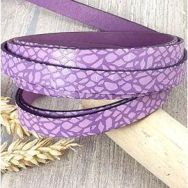 Cuir plat 10mm violet et mauve feuilles