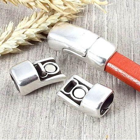 Fermoir magnetique securise argent pour cuir regaliz